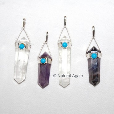 Mix Quartz Double Point Pendants