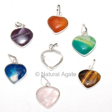 Mix Gemstone Heart Pendants