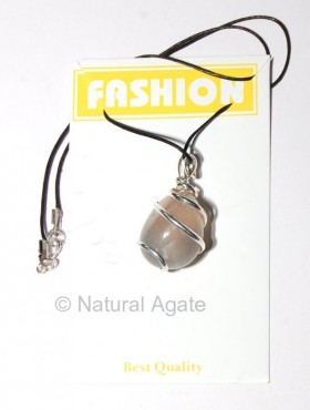 Agate Tumbled Silver Wrapped Pendants