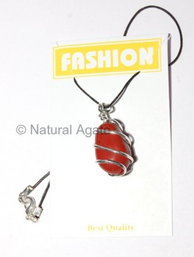 Red Jasper Tumbled Silver Wrappedn pendants