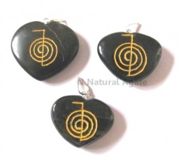 Black Agate Choko Reiki pendants