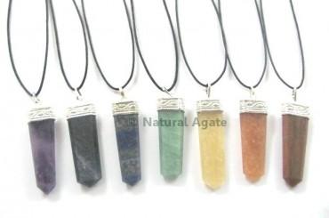 Mix Gemstone Pencil Pendants With Cord