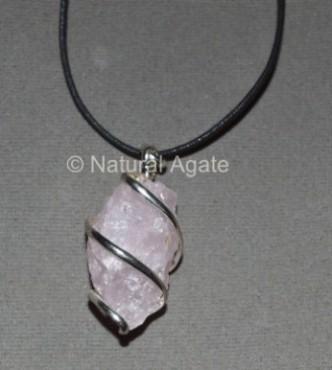 Rose Quartz Hammerd Pendulums Pendants