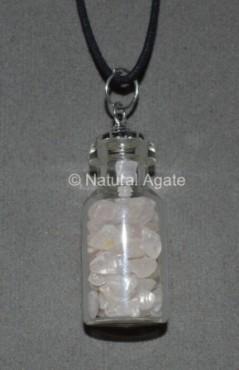 Rose Quartz Bottle Pendants