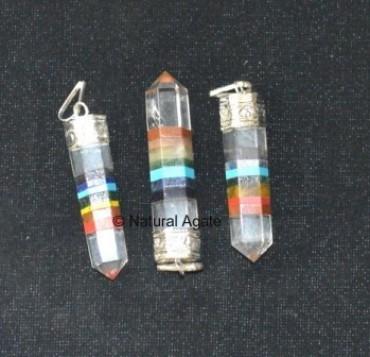 Chakra Pencil Pendants with Crystal Quartz