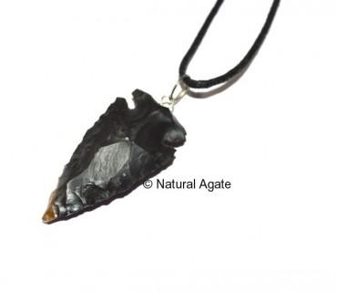 Black Agate Arrowheads Pendants