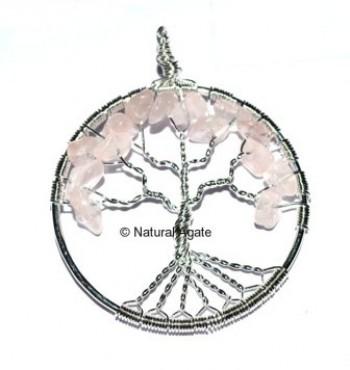 Rose Quartz Tree Pendants