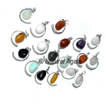 Mix Gemstone Moon Shape Cage Pendants
