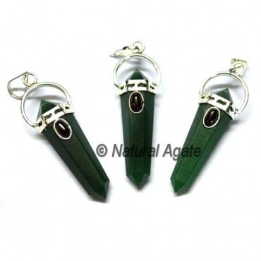 Green Jade Double Point Pendants