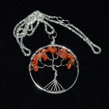 Carnellian Flower of Life Tree Necklace