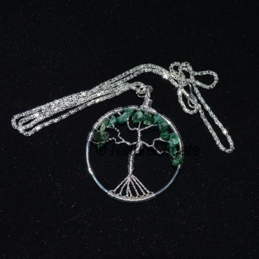 Green Jade Flower of Life Tree Necklace