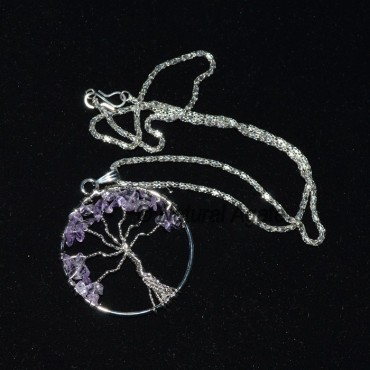 Amethyst Flower of Life Tree Necklace