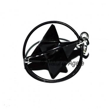 Black Cage Black Agate Merkaba Pendants