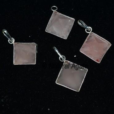 Rose Quartz Pyramid Pendants