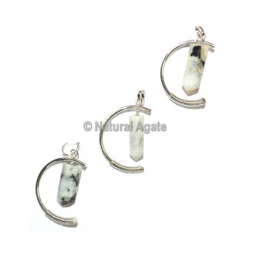 Rainbow Moonstone moon shape Pendants