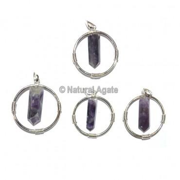 Amethyst Round Healing Pendants
