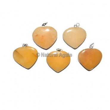 Yellow Aventurine Heart Pendants