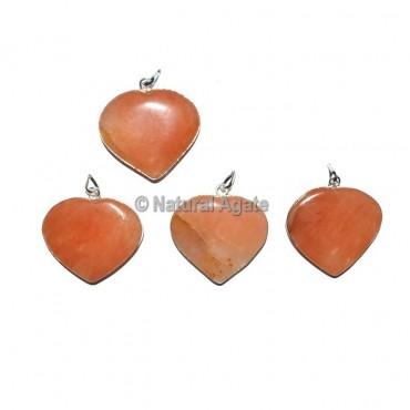 Peach Aventurine Heart Pendants