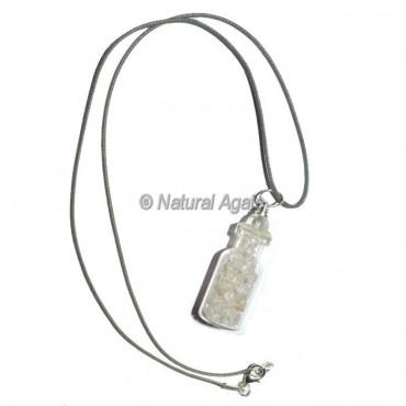 Crystal Quartz Bottle Pendants with Lather Cord