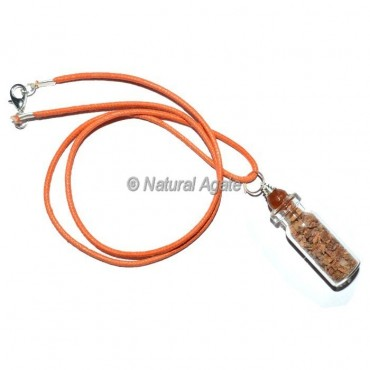 Peach Aventurine Bottle Pendants with Leather Cord