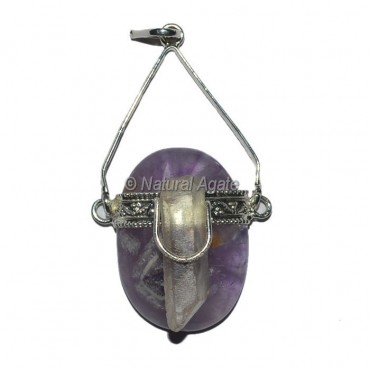 Amethyst Oval With Crystal Natural coin Pendants