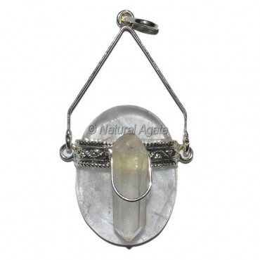 Crystal Quartz With Crystal Natural coin Pendants
