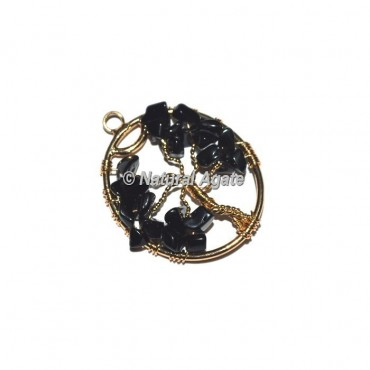 Black Agate Tree Of Life Pendants