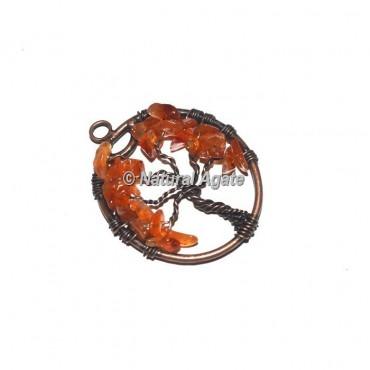 Carnelian Tree Of Life Copper Wire Pendants