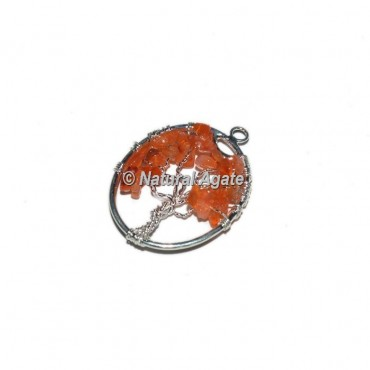 Carnelian Tree Of Life Silver Wire Pendants