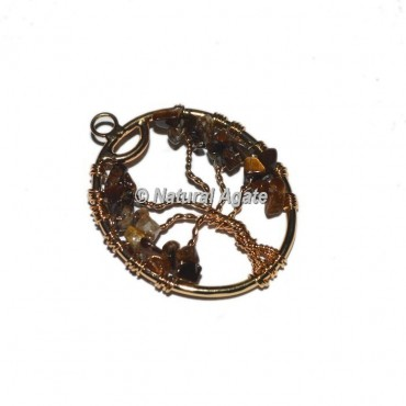 Tiger Eye Tree Of Life Copper Wire Pendants