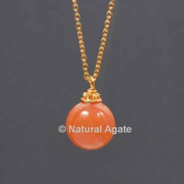 Carnelian Ball With Golden Chain Pendant