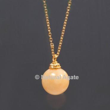 Golden Quartz Ball With Golden Chain Pendant
