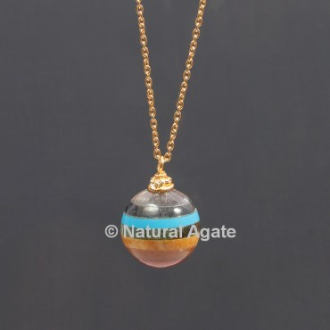 Seven Chakra Bonded Ball With Golden Chain Pendant