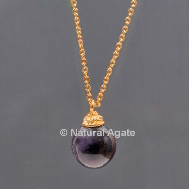 Amethyst Ball With Golden Chain Pendant