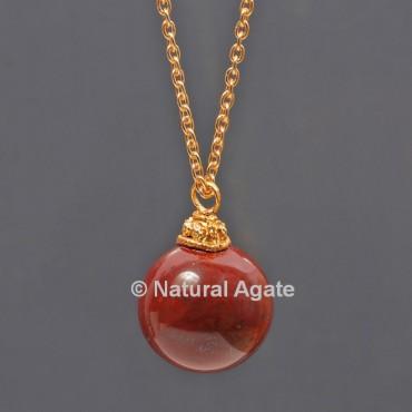 Red Jasper Ball With Golden Chain Pendant