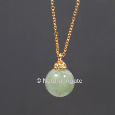 Green Aventurine Ball With Golden Chain Pendant