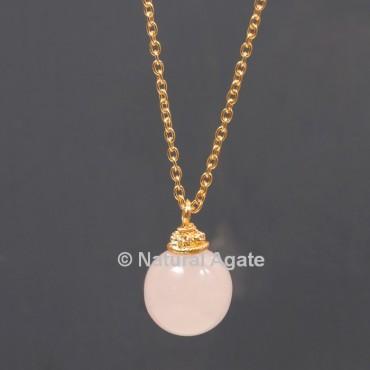 Rose Quartz Ball With Golden Chain Pendant