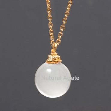 Crystal Quartz Ball With Golden Chain Pendant