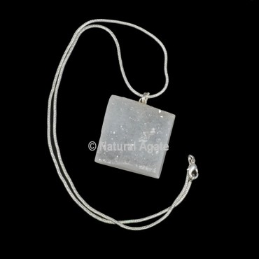 Druzy Agate Square Shape With Silver Chain Pendant