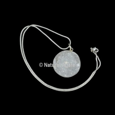 Druzy Agate Disc Shape With Silver Chain Pendant