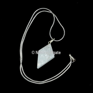 Druzy Agate Kite Shape With Silver Chain Pendant 1