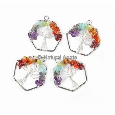 Hexagon Shape Silver Pendants