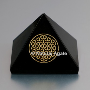 Black Agate Pyramid With Engraved Flower Of Life