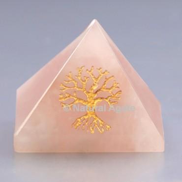 Rose Quartz With Tree Of Life