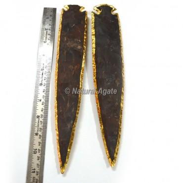 Agate 11 Inch Gold Plated Arrowhead