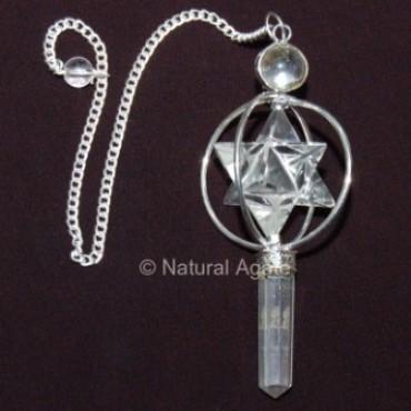 Crystal Quartz Merkaba Pendulums with Silver Plate