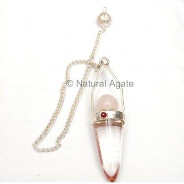 Crystal Quartz Pendulums with Rose Ball