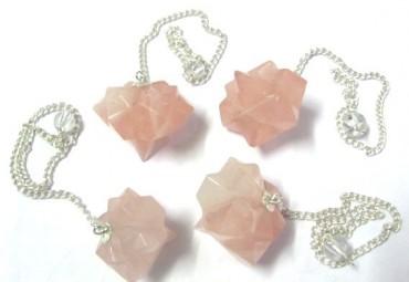Rose Quartz Lotus Pendulums