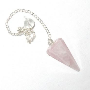 Rose Quartz 6 Faceted Pendulums