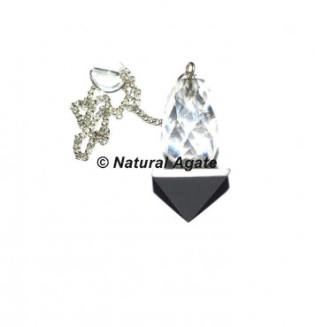 Black and Crystal Quartz faceted 2pcs Pendulums